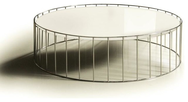 Contemporary White Round Glass Top Coffee Table Kamo Modern Coffee Tables Round Glass Top Coffee Tables (View 2 of 10)