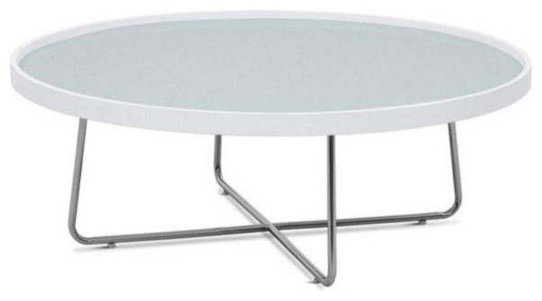 Contemporary White Round Glass Top Coffee Table Mima Modern Coffee Tables  Round White Coffee Tables (