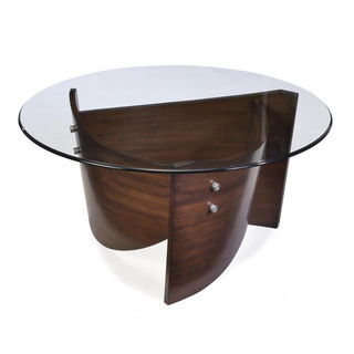 Contour Wood And Glass Top Round Cocktail Table Great Deals On Magnussen Home Furnishings Coffee Sofa And End Tables Round Glass Top Coffee Table With Wood Base (Image 2 of 10)