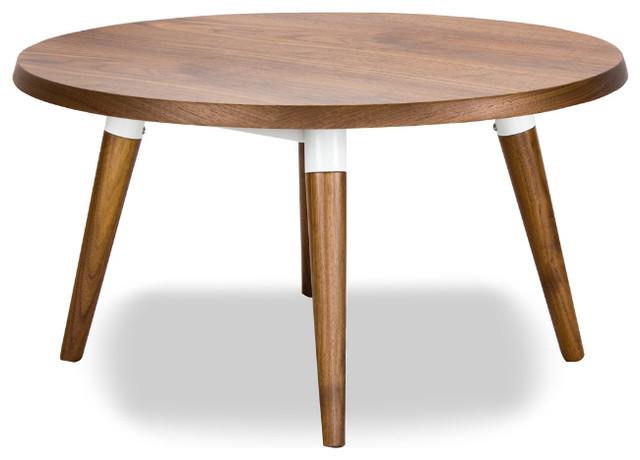 Copine Walnut Round Coffee Table Round Modern Coffee Table Modern And Small Coffee Tables 4 Legs (View 2 of 10)