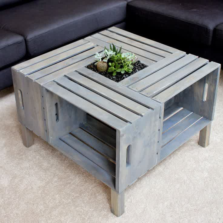 Crate Coffee Table With Legs And Open Storage Modern Wood Coffee Table  Reclaimed Metal Mid Century