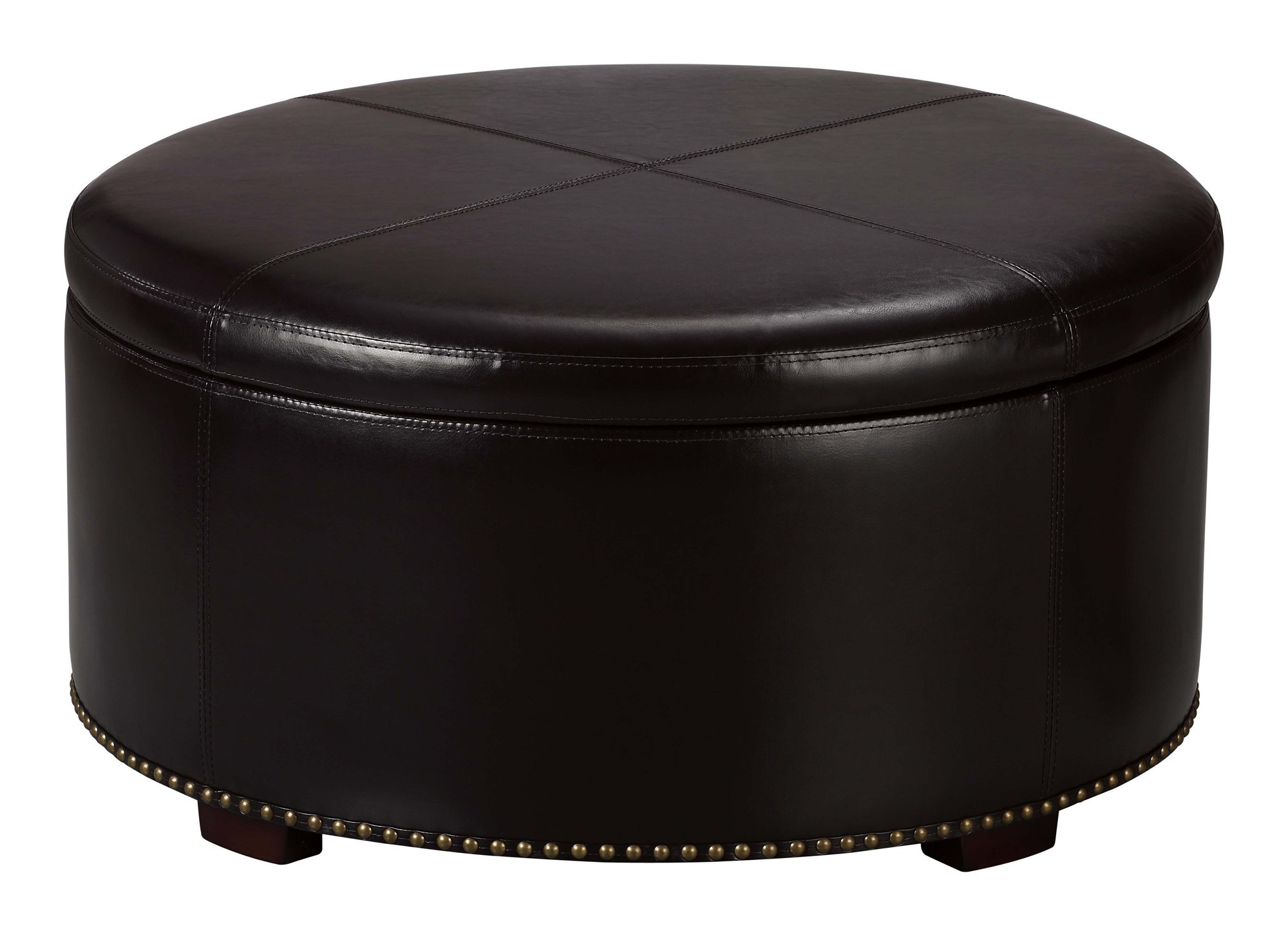 Cube Black Upholstered Living Room Ottoman Furniture Round Wooden Coffee Table With Drawers Coffee Table Drawers (Image 2 of 10)