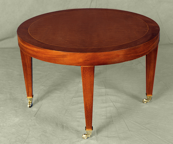 custom-coffee-table-round-brown-minimalist-lacquered-wooden-coffee-table-round-mahogany-coffee-table (Image 4 of 10)