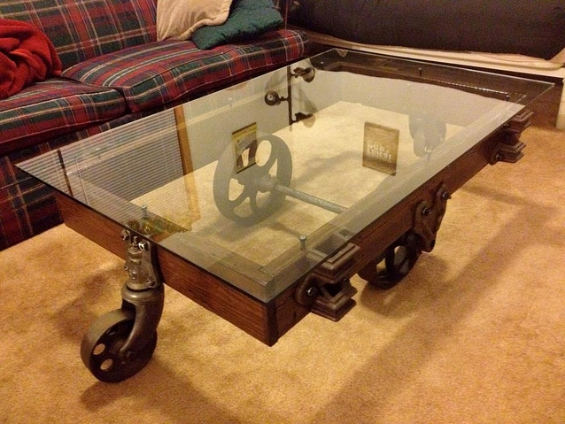 Custom Glass Coffee Table Reuse And Recycle Interior And Exterior Wood Door For Modern Furniture In Vintage Style (View 6 of 9)