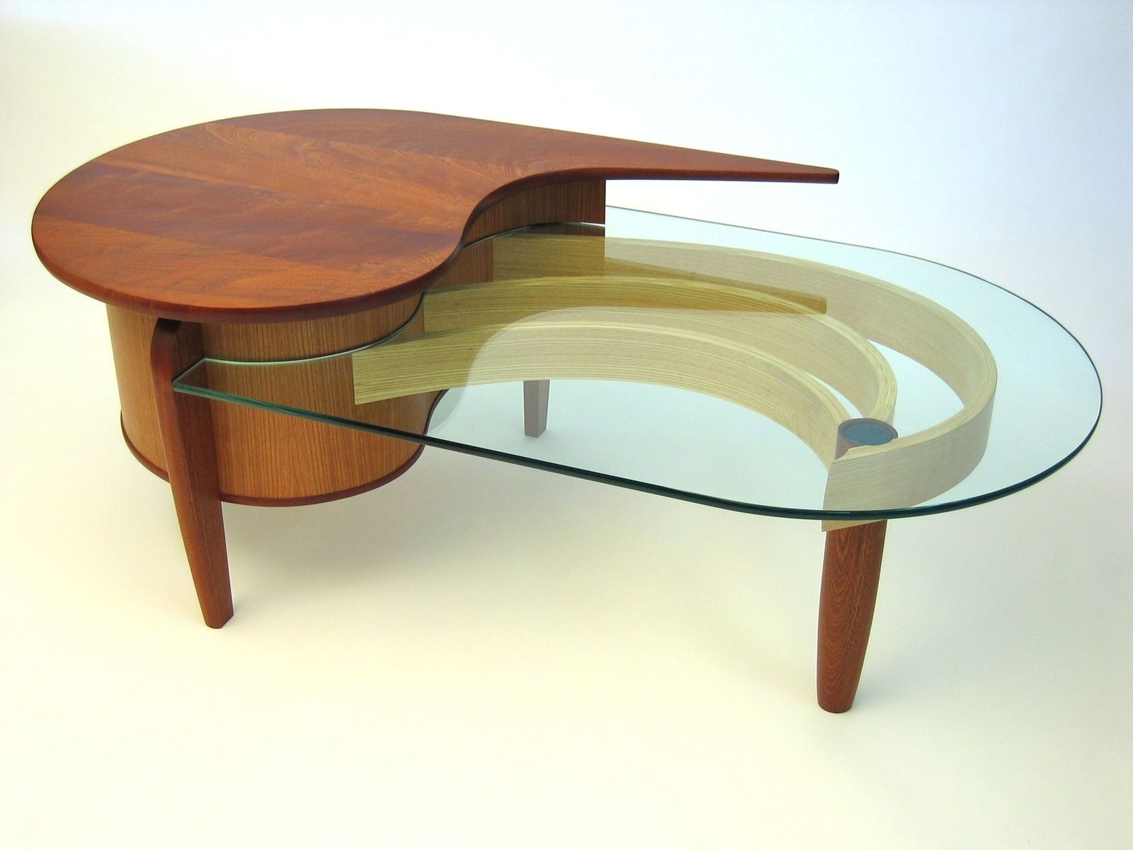Custom Glass Coffee Tables With Laminated Curves And Single Dovetailed Joints This Piece In American Oak Is Certainly Heavy Mahogany (Image 10 of 10)