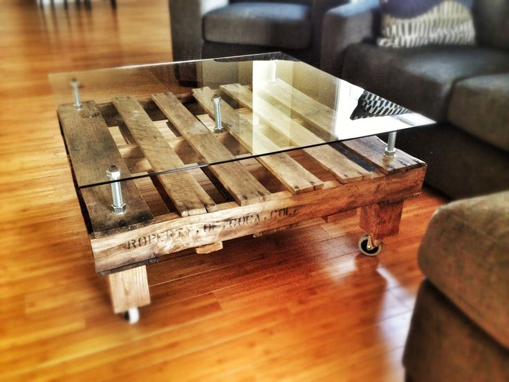 Custom Glass For Coffee Table Diy Pallet Coffee Table I Made Using Oversized Bolts And A Custom Sheet Of Glass On (View 3 of 9)