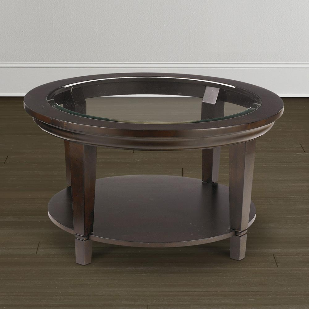 Round Gl Top Coffee Table With Metal Base The