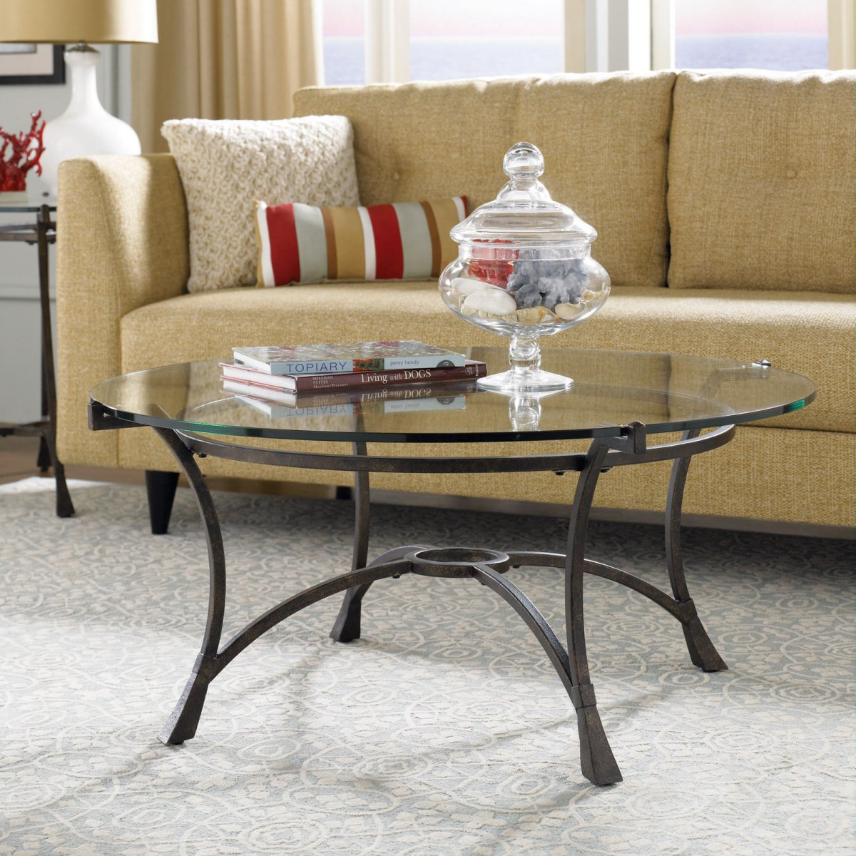 Popular Photo of Small Wood Glass Top Round Coffee Tables