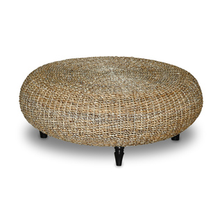 Decorative Tan Transitional Riau Round Coffee Table Rush Grass Knotwork Coffee Table Ottoman Wicker Round Coffee Table (Image 2 of 10)