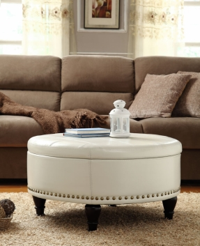 Desk And Table White Leather Round Storage Ottoman Coffee Table Cool Round Ottoman Coffee Table For Your Home (Image 3 of 8)