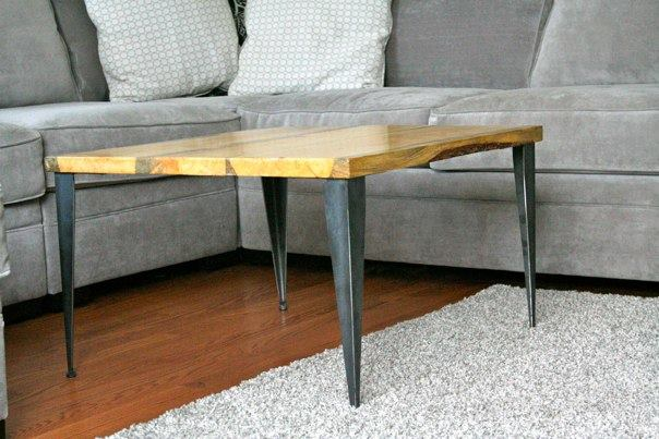 Diy Coffee Table With Tapered Angle Iron Modern Wood Reclaimed Metal Mid Century Round Legs