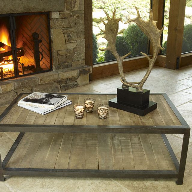 Eclectic Coffee Tables Aspen Rustic Wood Coffee Table Eclectic Coffee Tables With Horn Of Deer (Image 2 of 10)