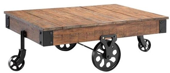 eclectic-coffee-tables-Industrial-Maison-Coffee-Table-eclectic-coffee-tables-Rustic-Coffee-Table-On-Wheels (Image 2 of 10)