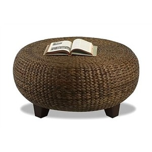 Beau Eco Chic Woven Rattan Coffee Table With Round Shape And Square Wood Legs  Rattan Coffee Table