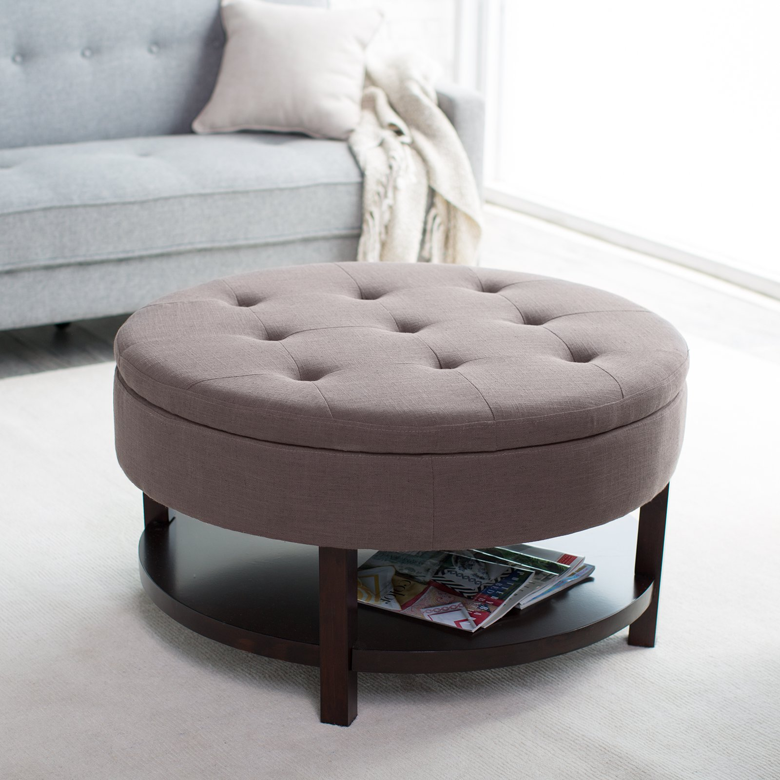Lovely Elegant Grey Round Ottoman With Upholstered Style Suitable