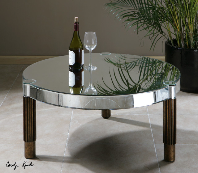 Eleni Mirrored Round Coffee Table Transitional Coffee Tables Mirrored Coffee Table Round Mirror Glass Coffee Table (Image 2 of 10)