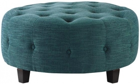 Farrow Round Tufted Ottoman Living Room Furniture Round Upholstered Ottoman Coffee Table Round Fabric Coffee Table Ottoman (Image 3 of 10)