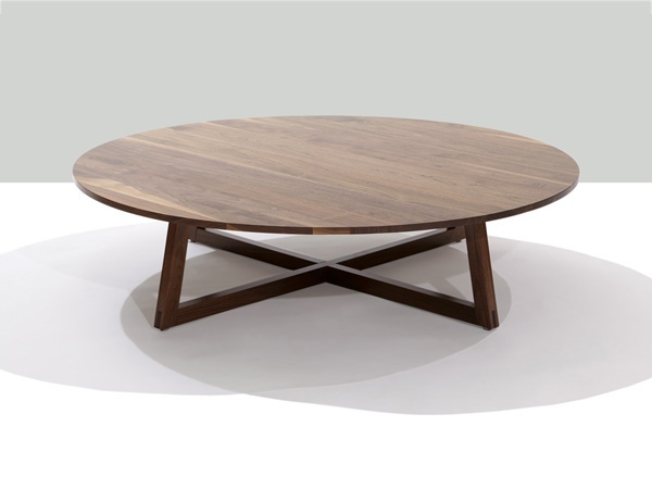 Finn Solid Walnut Round Coffee Table Round Modern Coffee Table Finn Solid Wood 48 Inch Round Coffee Table (Image 3 of 10)