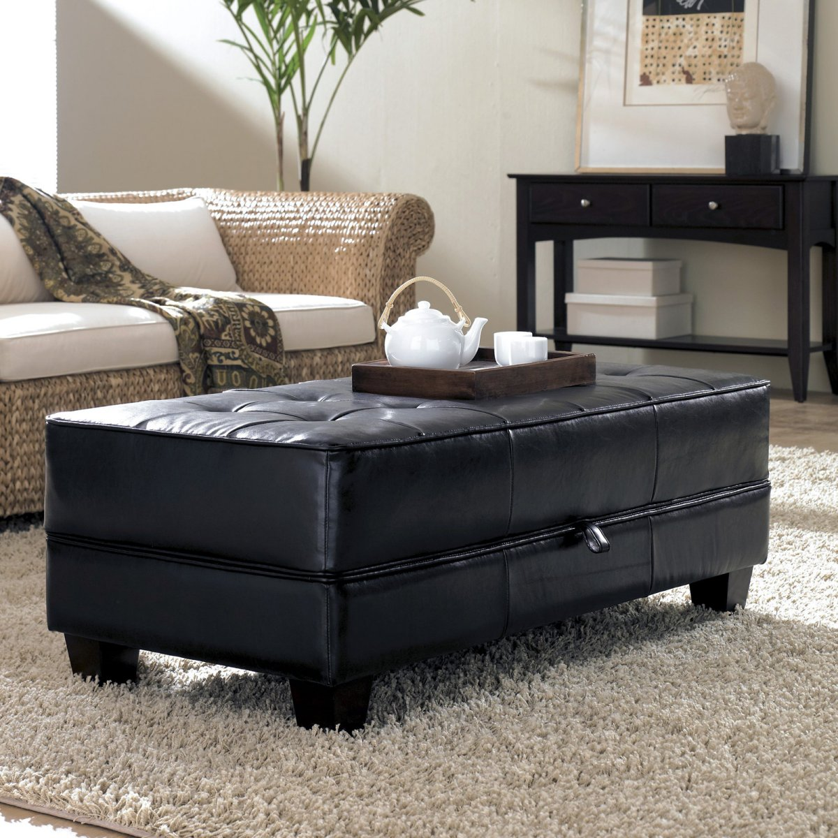 freestanding-rectangle-black-leather-covered-upholstered-ottoman-coffee-table-reclaimed-metal-mid-century-round-natural-diy-leather-ottoman-coffee-tab (Image 3 of 10)