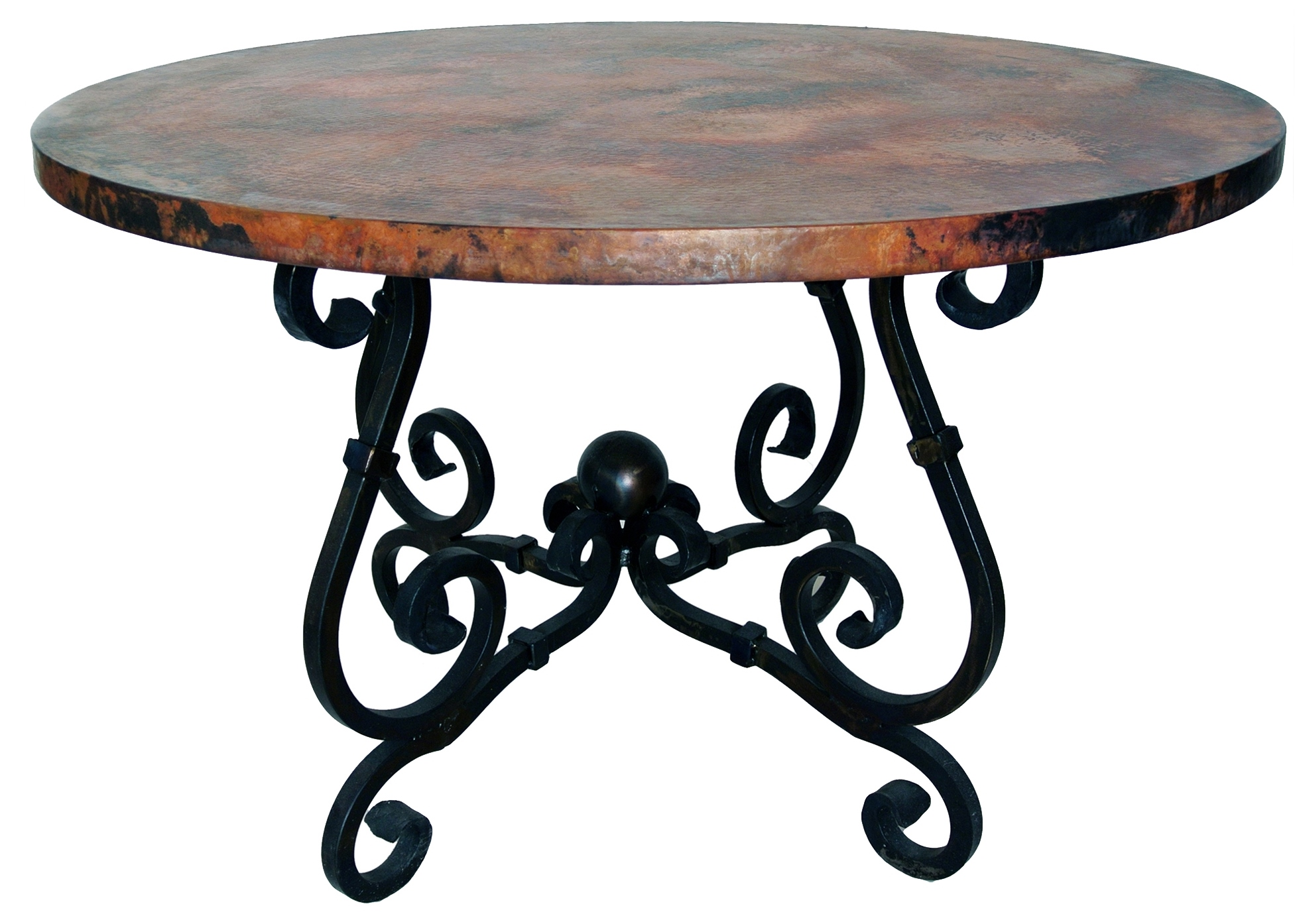 French Console Table With Copper Top Wrought Iron
