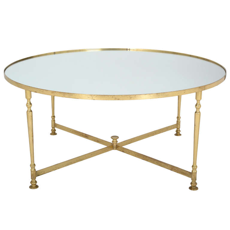 french-vintage-round-brass-coffee-table-round-brass-coffee-table-range-round-coffee-table-metal-and-brass-frame (Image 5 of 10)