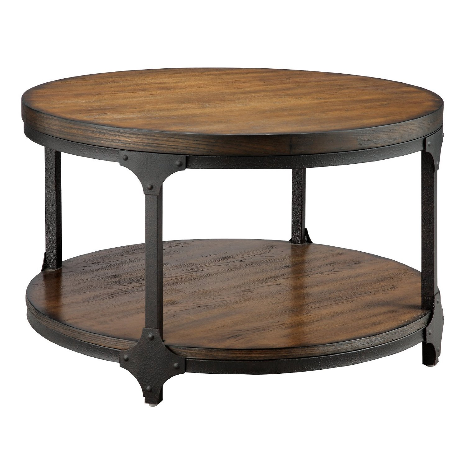 Furniture Living Room Round Wooden Coffee Table With Ladder Shelf And Black  Metal Frame Round Metal