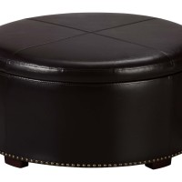 Furniture Magnificent Black Leather Coffee Table With Storage Ideas Round Black Leather Ottoman Round Wood Coffee Table With Storage (View 2 of 8)