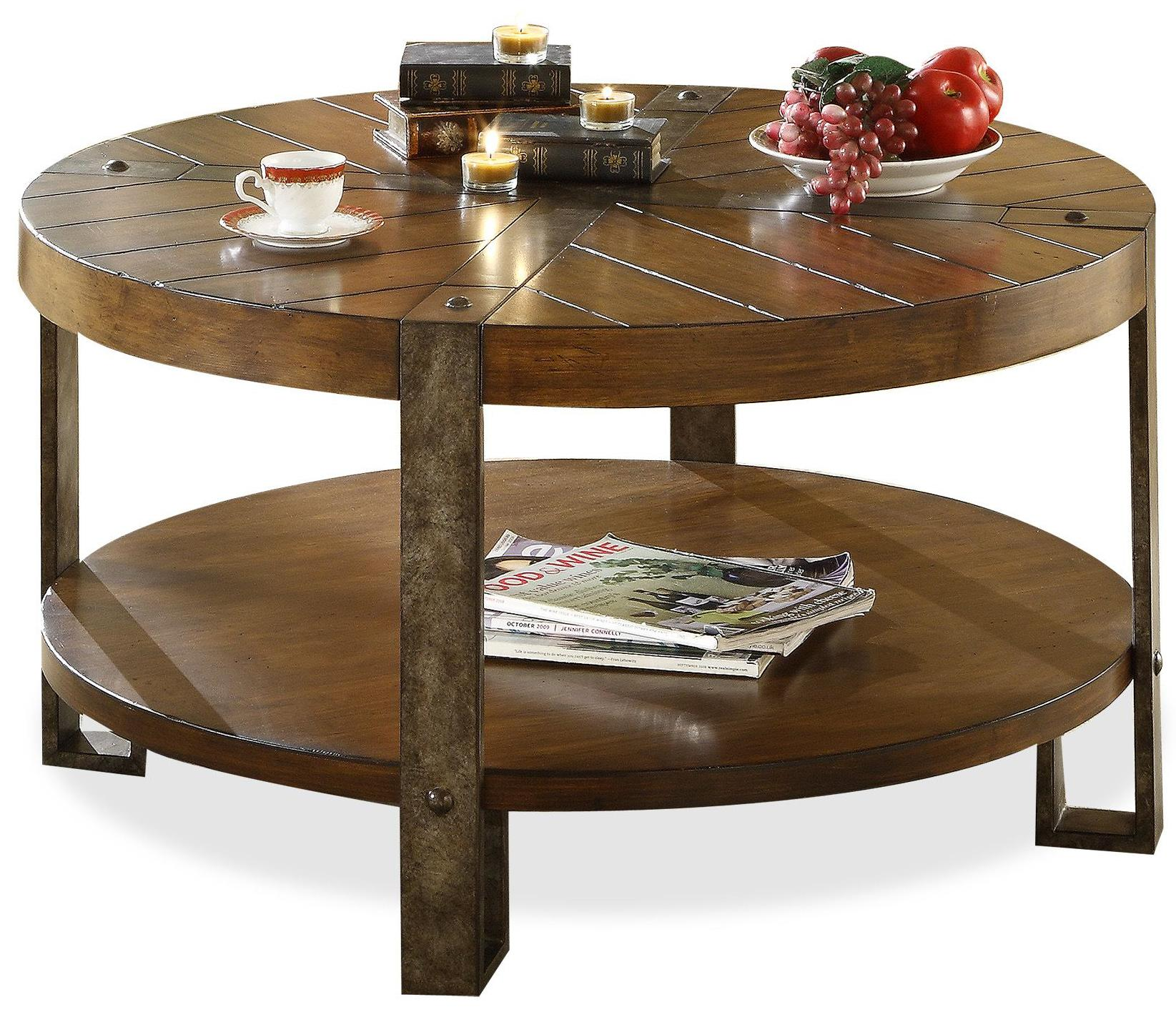 Furniture Old And Vintage Round Coffe Table With Wood Top And Metal Base Plus Bookshelf Round Wooden Coffee Table With Drawers (Image 3 of 10)