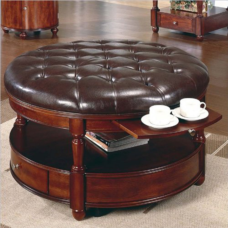Furniture Round Ottoman Coffee Table With Leather Seat And Wooden Material Also Built In Drawer Beautiful Coffee  (Image 5 of 10)
