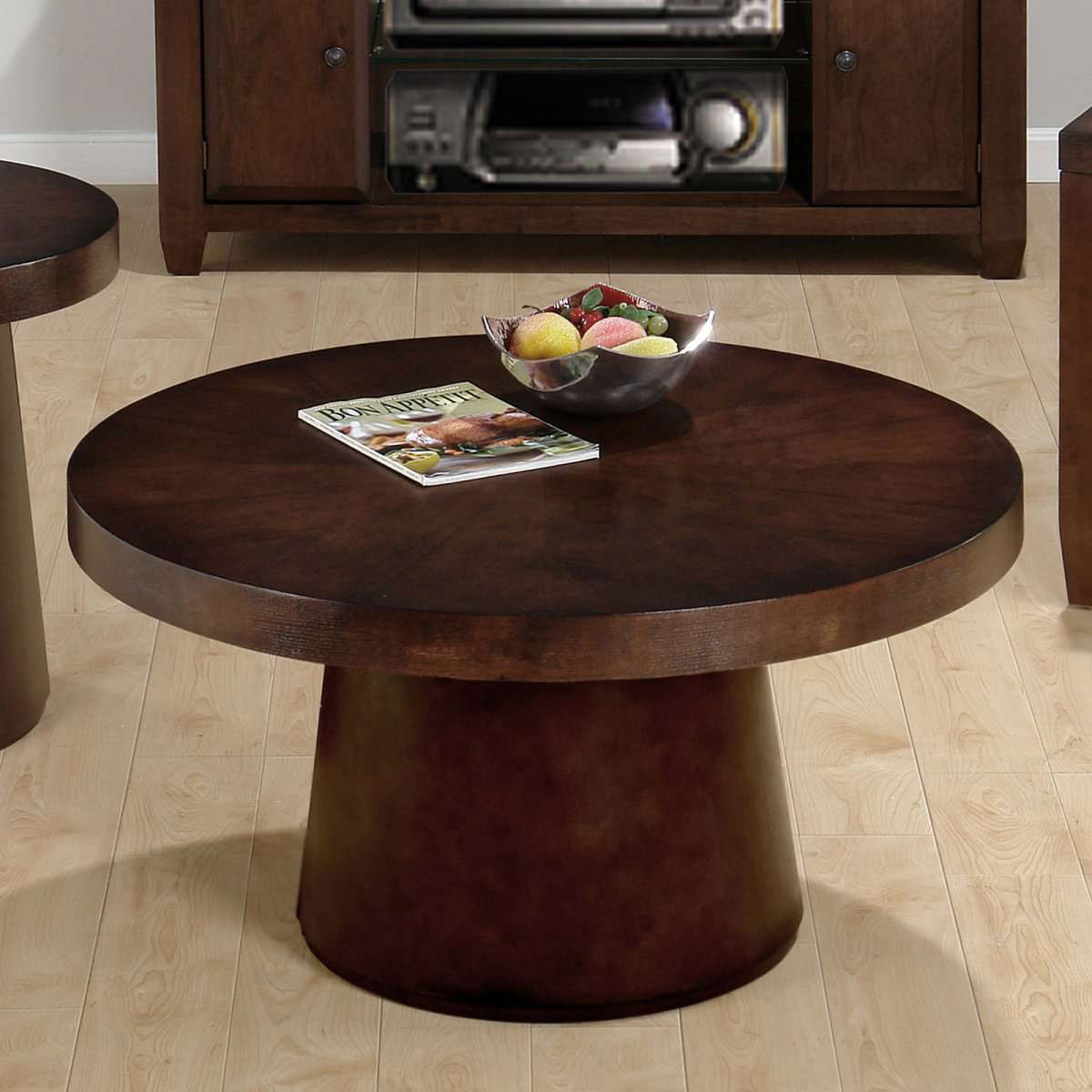 Futuristic Kitchen Design Contemporary Ideas Brown Round Coffee Table Amazing Unique Round Coffee Tables For Small Living Room With Monopole Design On Wooden Laminate Flooring (View 5 of 10)