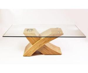 Glass And Dark Wood Coffee Table Alan Glass Top Coffee Table With Oak Finish Wooden Legs Interiors (View 2 of 9)