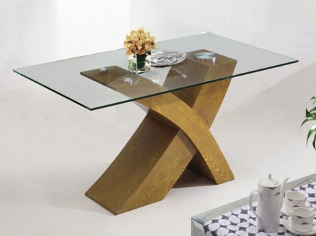 Glass And Dark Wood Coffee Table Milano Oak Veneer Glass Wood Coffee Table Cross Leg Wooden Living Room Furniture (View 5 of 9)