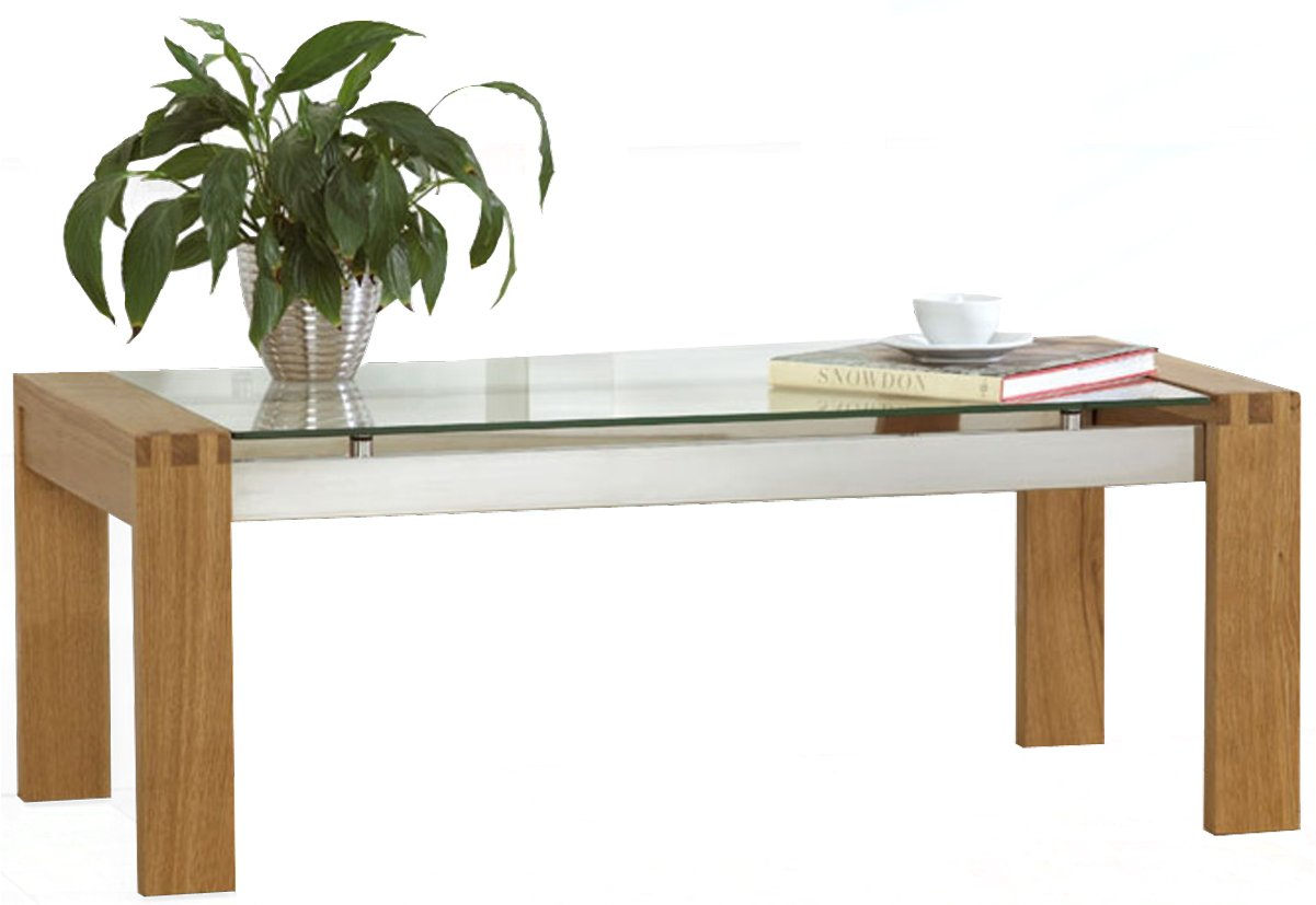 Glass And Dark Wood Coffee Table Roma Solid Oak Coffee Table With Glass Top Main Image Simple Tables Sets (View 7 of 9)