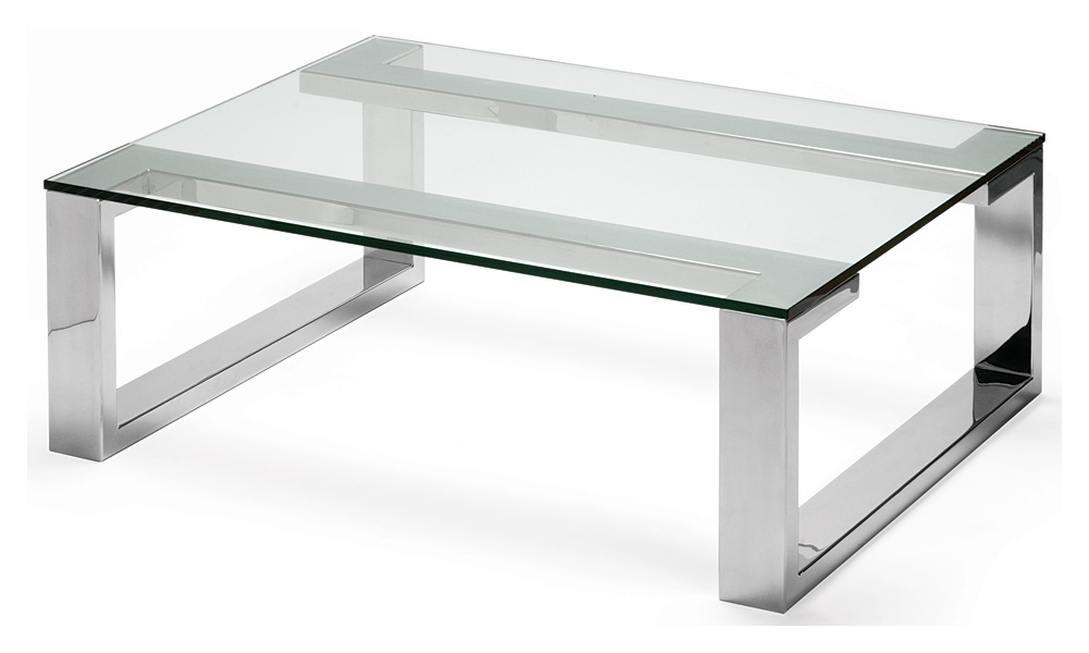 Glass And Stainless Steel Coffee Table Made In England Each Piece Has Been Meticulously Created By Highly Skilled Craftsmen Who Take Great Pride In Their Work (Image 8 of 10)