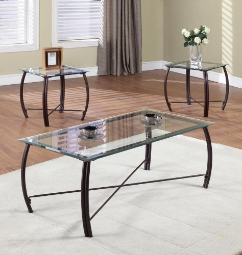 Glass Coffee And End Tables 3 Pc Beveled Glass And Copper Bronze Metal  Frame Coffee Table