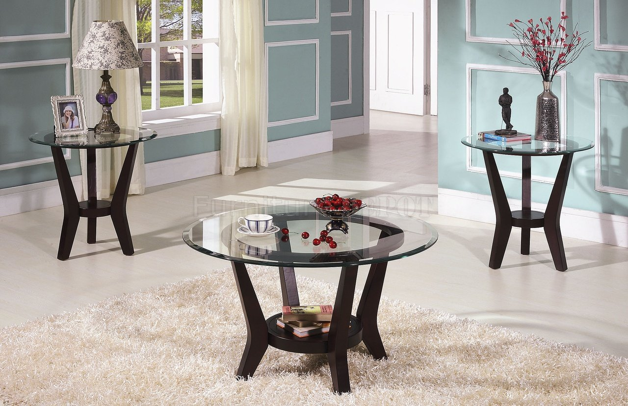 Glass Coffee And End Tables Brown Cherry Coffee Table End Tables 3PC Set Clear Glass Top (Image 3 of 9)