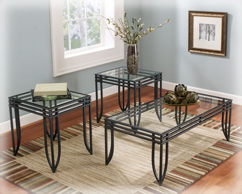 Glass Coffee And End Tables Lane 3pc Black Metal And Glass Coffee End Table Set (Image 7 of 9)