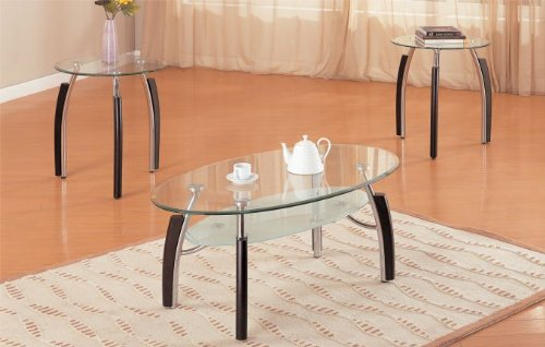 Glass Coffee And End Tables Poundex F3098 3PCs. Glass Top Coffee And End Table Set (Image 8 of 9)