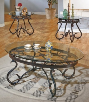 Glass Coffee And End Tables Steve Silver Lola 3 Piece Set Coffee Table 2 End Tables In Dark Brown Finish By Steve Silver Company (Image 9 of 9)