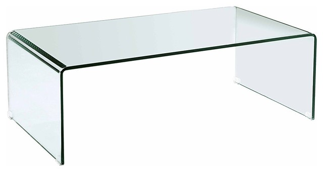 Glass Coffee Table Modern Modern Clear Bent Glass Rectangular Coffee Table Strada Contemporary Interiors Ideas (View 5 of 10)