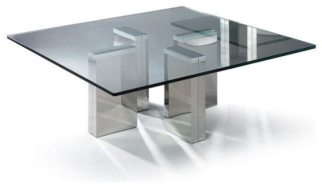 Glass Coffee Table Modern Modern Square Glass Coffee Table Urbino Modern Coffee Tables San Francisco By Furnillion (Image 6 of 10)