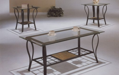 Glass Iron Coffee Table 3 Piece Neo Modern Coffee Table Set In Wrought Iron And 8mm Veveled Glass Top VF F3040 (Image 2 of 10)