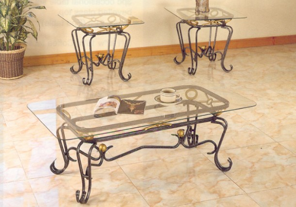 Glass Iron Coffee Table Coffee Table Glass And Wrought Iron Coffee Tables 3PC Wrought Iron Glass Coffee Table Set W (Image 4 of 10)