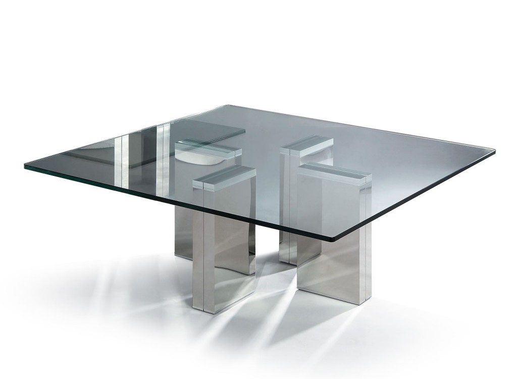 Glass Modern Coffee Table Modern Square Glass Coffee Table Coffee Side Tables Crome Legs Silvers (Image 5 of 10)