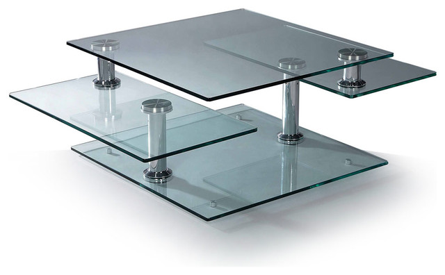 glass-modern-coffee-tables-Cota-Round-Coffee-Table-Swivel-Clear-Glass-Wenge-Wood-NSI-431002-images (Image 4 of 10)