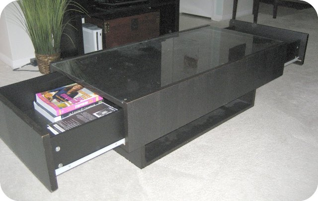 Glass Top Coffee Table With Storage Coffee Table Also Has Drawers On Each Side For Extra Storages (View 3 of 10)