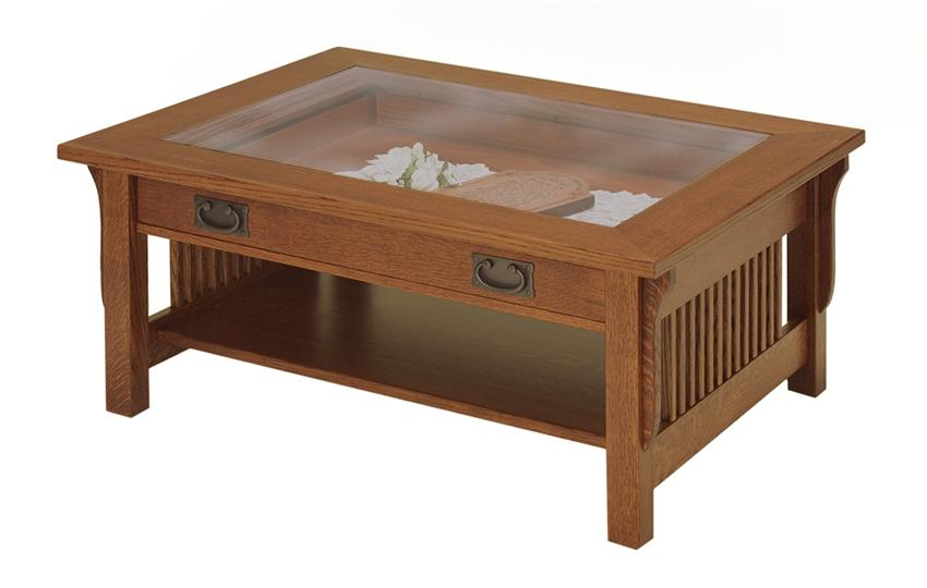 Glass Top Coffee Table With Storage Manchester Wood Glass Top Display Coffee Table Golden Oak (Image 9 of 10)