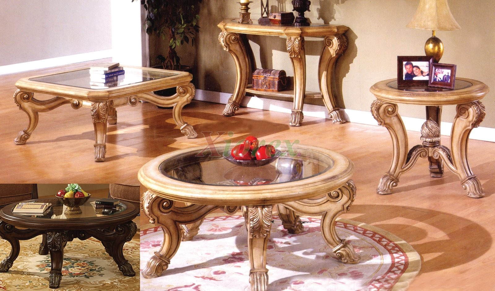 Glass Top Coffee Tables And End Tables Corvi Coffee Table Sets Mississauga Include Either A Circular Or A Square Coffee Table In Dark Brown And Honey (Image 5 of 10)