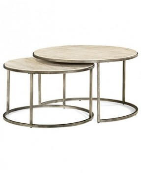 Glass Top Coffee Tables For Sale Its Round Has A Bronze Metal Base And A Travertine Double Table Designs (View 5 of 10)