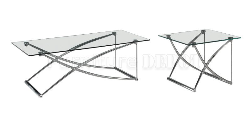 Glass Top Metal Base Coffee Table Contemporary Coffee Table Set Clear Glass Top Metal Base Sturdy Construction (View 2 of 10)